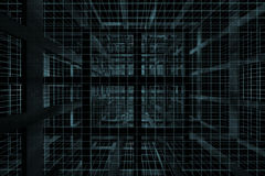 3D dark blue cube Stock Images