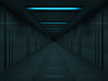 3d Dark corridor with blue lamps on ceiling Royalty Free Stock Photo