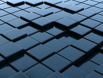 3D dark metallic blue cubes Royalty Free Stock Photography