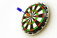 3d Dart Board. Image of 3d render of dart hitting bull's eye on board Stock Image