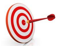 3d dart on target. 3d render of dart hitting target Royalty Free Stock Photo