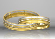 3d, das zwei goldene Ringe überträgt Stockbild