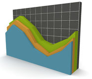 3D Data Graph over a grid. A 3D rendered illustration of a business data graph on a grey grid background Royalty Free Stock Photos