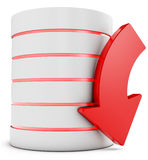 3d database with downloading symbol arrow. On white background Royalty Free Stock Images
