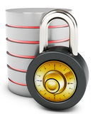 3d database with padlock security concept Stock Photo