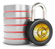 3d database with padlock security concept Stock Images