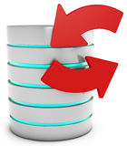 3d database with refresh symbol arrows Royalty Free Stock Photography