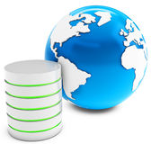 3d database server with earth globe Royalty Free Stock Photography