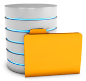 3d database server with folder Royalty Free Stock Image