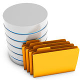 3d database server with folder Royalty Free Stock Photos