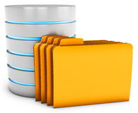 3d database server with folder Royalty Free Stock Photo