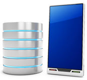 3d database server with mobile smartphone. On white background Stock Photo