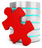 3d database server with red puzzle piece Stock Photo