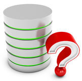 3d database server with red question mark Royalty Free Stock Photography