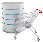 3d database server with shopping cart Stock Photo