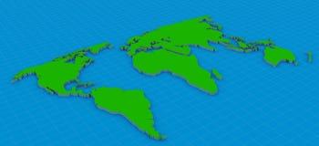 3d de kaart van de wereld stock illustratie