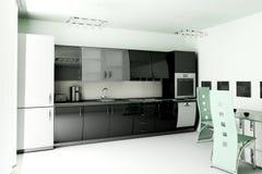 3d de keuken geeft terug Stock Foto