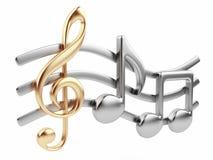 3D de nota van de muziek. De samenstelling van de muziek. Geïsoleerdn Stock Afbeelding