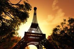 3D de Toren van Parijs Eiffel geeft terug Stock Afbeelding