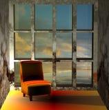 3D de um sofá no por do sol ilustração stock
