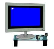 3D de un plasma TV y un Dumbell Imagenes de archivo