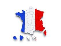 3D de vlagkaart van Frankrijk Royalty-vrije Stock Afbeelding