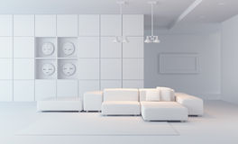 3d de zitkamer de ruimte van de luxe geeft terug royalty-vrije illustratie
