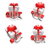 3d decorated anniversary present with red ribbon Royalty Free Stock Photography