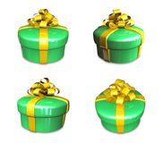 3d decorated green gift Stock Image