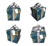 3d decorated map paper lapping gift Stock Photo