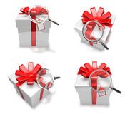 3d decorated white gift Royalty Free Stock Images
