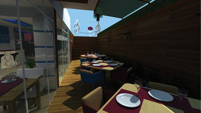 3d decoratie van het restaurantontwerp Royalty-vrije Stock Afbeeldingen