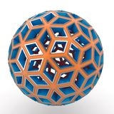 3d decorative orange and blue sphere. Isolated on white royalty free illustration
