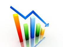 3d decrease graph. 3d graph showing decrease in benefits or earnings on white background Stock Photos
