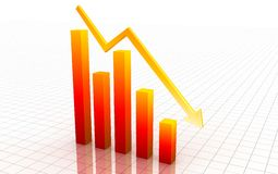 3d decrease graph Stock Photo