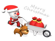 3d delivery of santa and rudolf Stock Photos