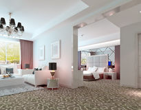 3D deluxe hotel suite interior rendering Stock Images