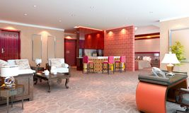 3D deluxe hotel suite interior rendering Stock Photography