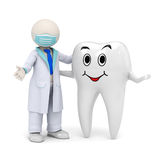 3d dentist with a smiling tooth icon. 3d photo-realistic render of a 3d dentist and a smiling tooth standing in welcome pose royalty free illustration