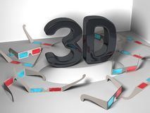 3D design with many stereoscopic glasses Stock Images
