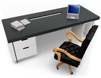 3d desk with laptop and executive chair Royalty Free Stock Photography