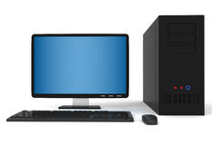 3d Desktop computer. Isolated in white Stock Photos