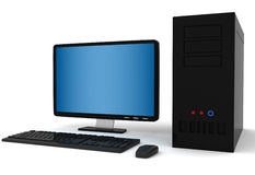 3d Desktop computer. Isolated in white Stock Images