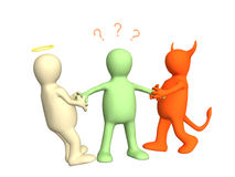 Free 3d Devil And Angel Pulling Person For Hands Stock Images - 4327154