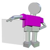 3D di un Humanoid metallico che tiene un vetro in bianco Fotografia Stock