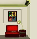 3D di un interiore dell'angolo della lettura Immagine Stock