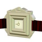 3D di un orologio di cuoio elegante della mano Fotografia Stock