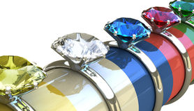 3D Diamond Ring. Concept of wedding, valentine, wealth, consumes and expensive Royalty Free Stock Image
