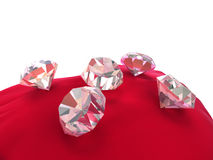 3d diamonds on red velvet Stock Photo