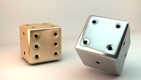 3D dice. Two 3D dice in gold and silver royalty free illustration